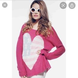WILDFOX Couture White Label Billy Heart Sweater